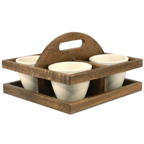 Ceramic Sauce Condiment Pots & Wooden Carry Stand Holder